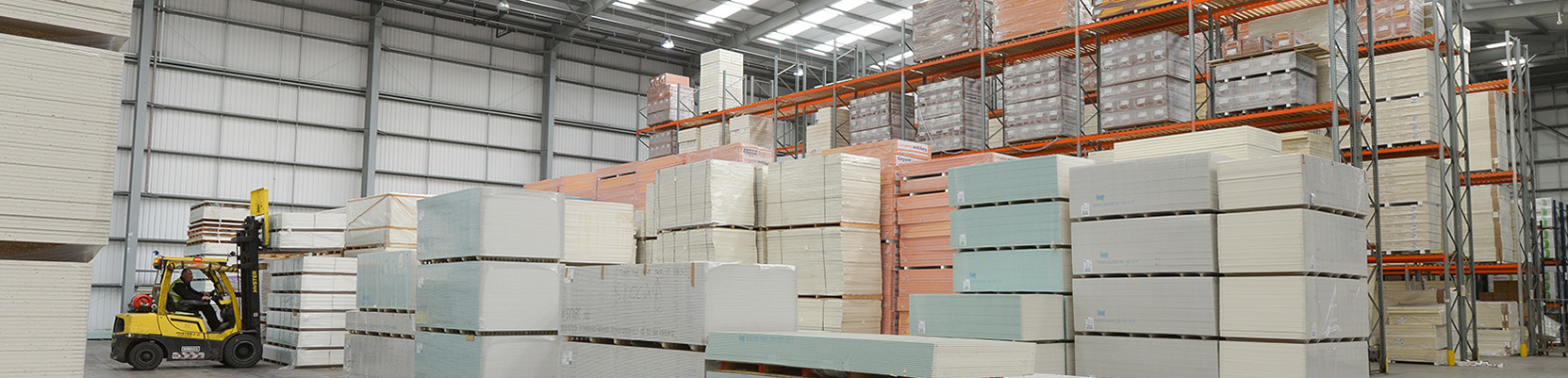 Plasterboard and insulation stock in a warehouse