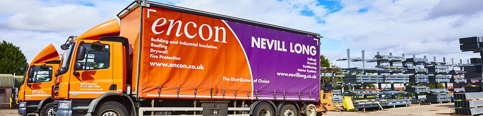 Encon and Nevill Long delivery trucks in Leeds branch yard