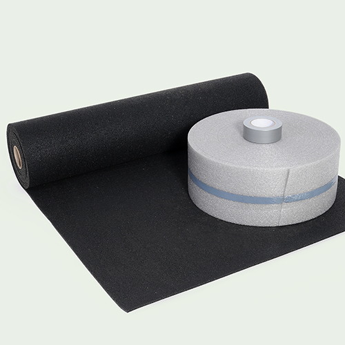 Roll of acoustic layer for flooring applications