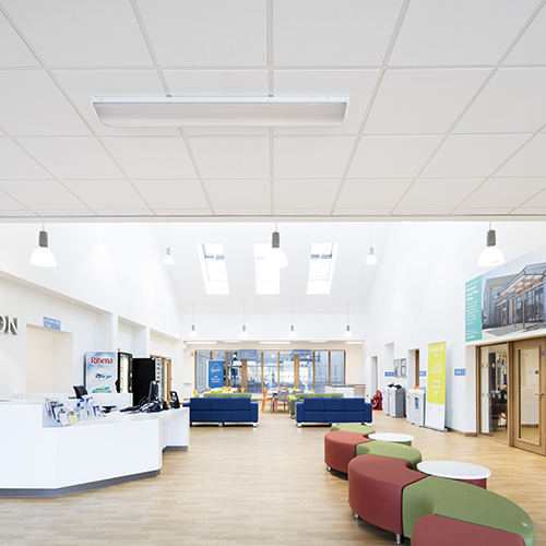 Suspended ceiling installed in a community building