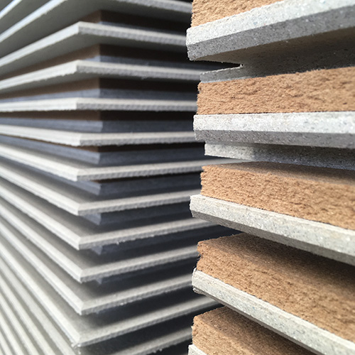 Stack of dry screed flooring panels