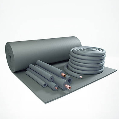 Flexible foam insulation on a roll and in pipe sections