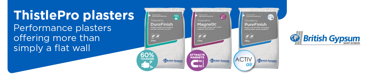 British Gypsum ThistlePro product range advertisement