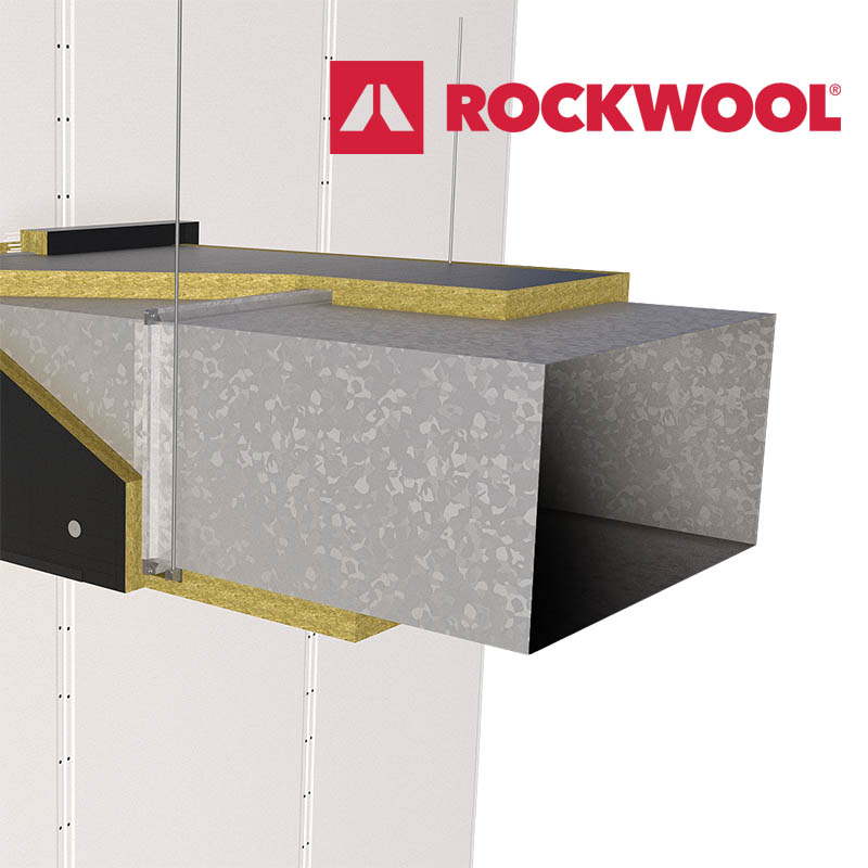 ROCKWOOL's FIREPRO® DuctRock® Slab and ROCKWOOL Logo